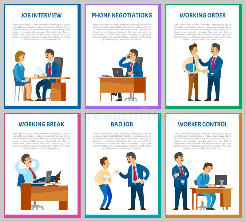 Interview Candidate Talking to Director Posters. With text sample vector. Phone talk negotiations with partners, worker control, supervising boss, break vector illustration