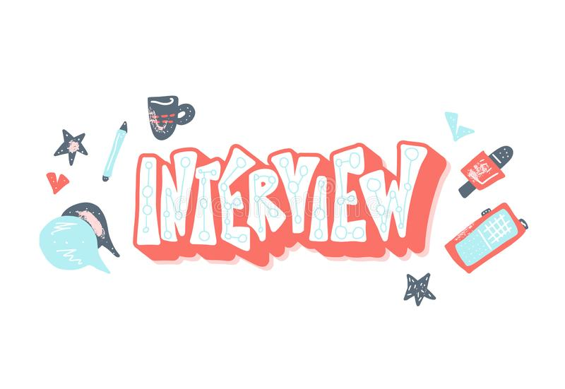 Interview design poster. Vector illustration. Interview emblem with lettering and decoration design element. Set of interview tools. Banner template with text vector illustration