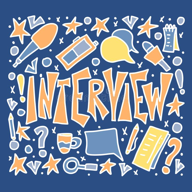 Interview design poster. Vector illustration. Interview lettering with decoration design element in doodle style. Set of interview tools. Banner template with royalty free illustration