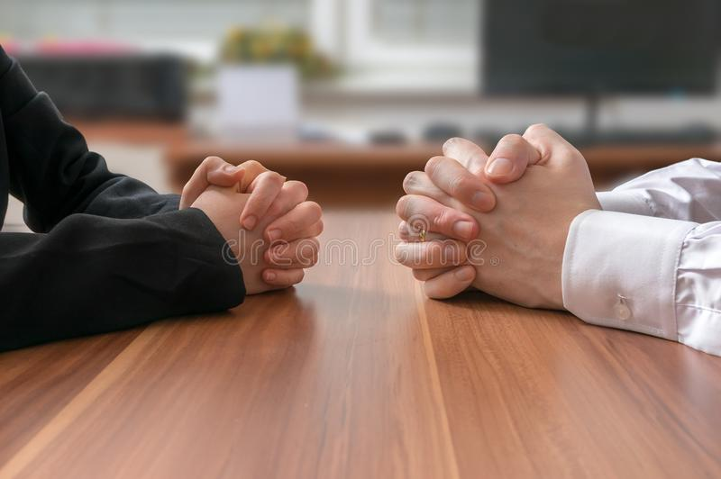 Interview or dialogue between politicians. Negotiation of two statesman royalty free stock photography