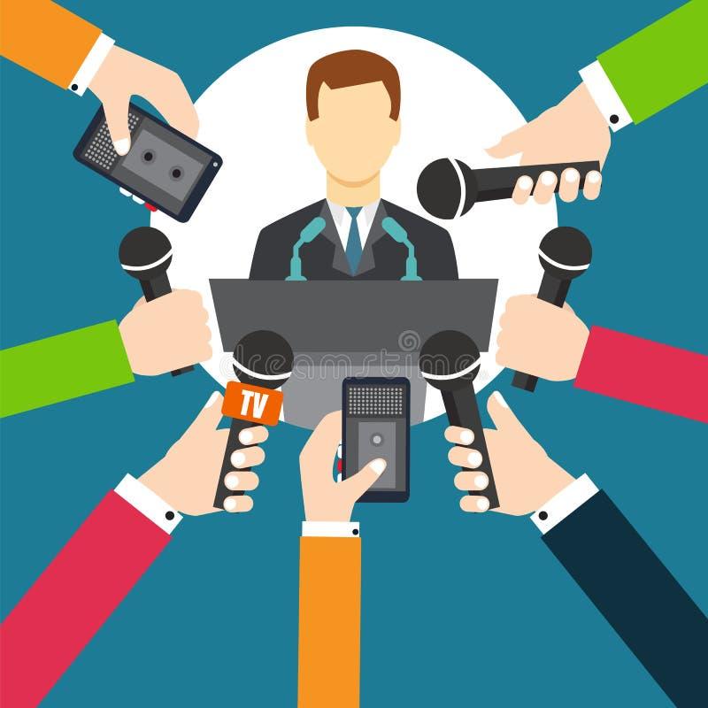 Interview een zakenman of een politicus die vragen beantwoorden royalty-vrije illustratie