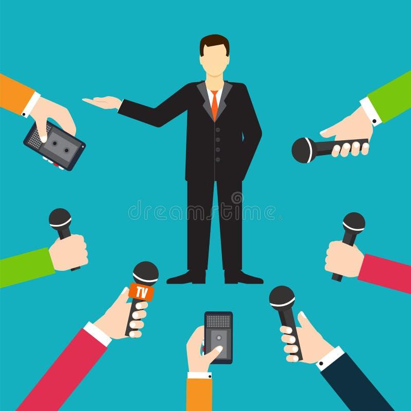 Interview een zakenman of een politicus die vragenvector beantwoorden vector illustratie