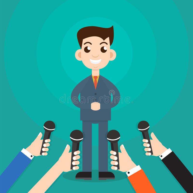 Interview een zakenman of een politicus die vragenvector beantwoorden royalty-vrije illustratie