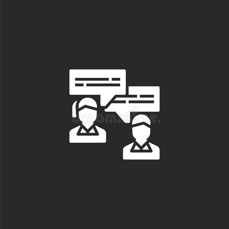 interview icon. Filled interview icon for website design and mobile, app development. interview icon from filled recruitment royalty free illustration