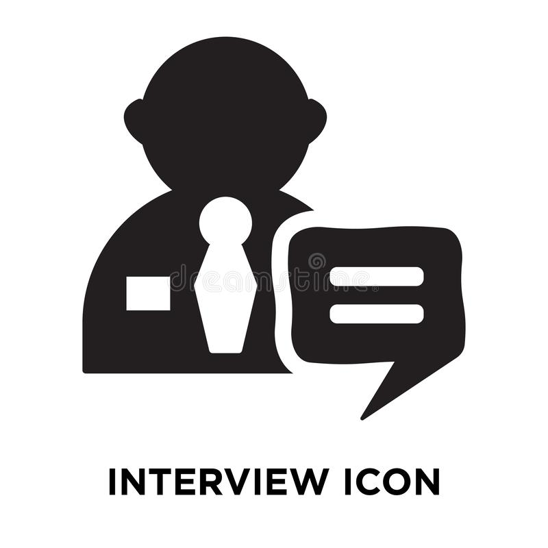 Interview icon vector isolated on white background, logo concept. Of Interview sign on transparent background, filled black symbol stock illustration