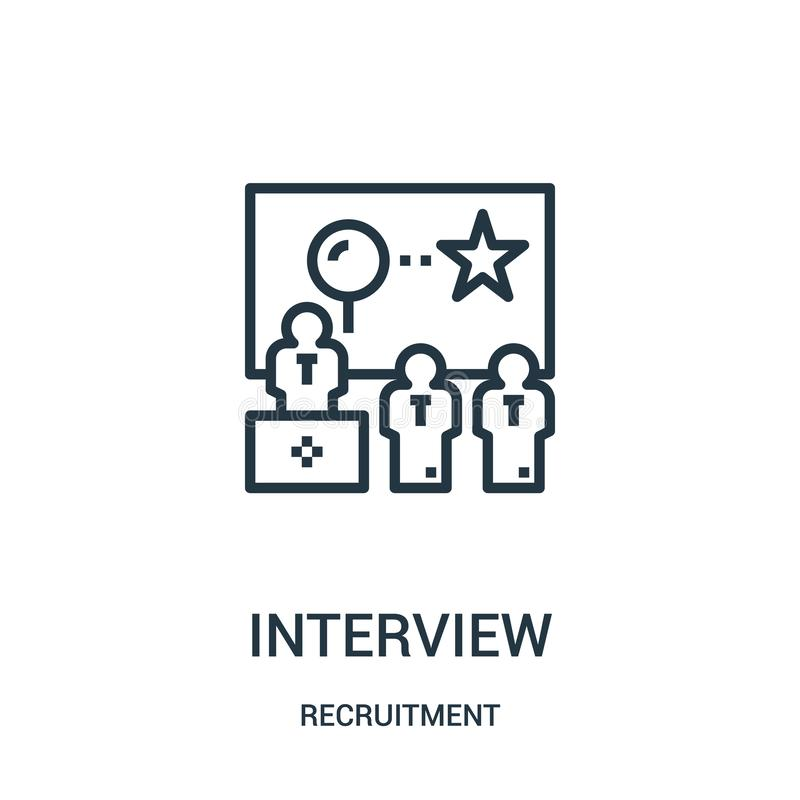 interview icon vector from recruitment collection. Thin line interview outline icon vector illustration vector illustration