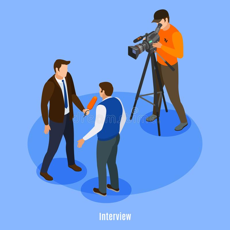 Interview Isometric Background vector illustration