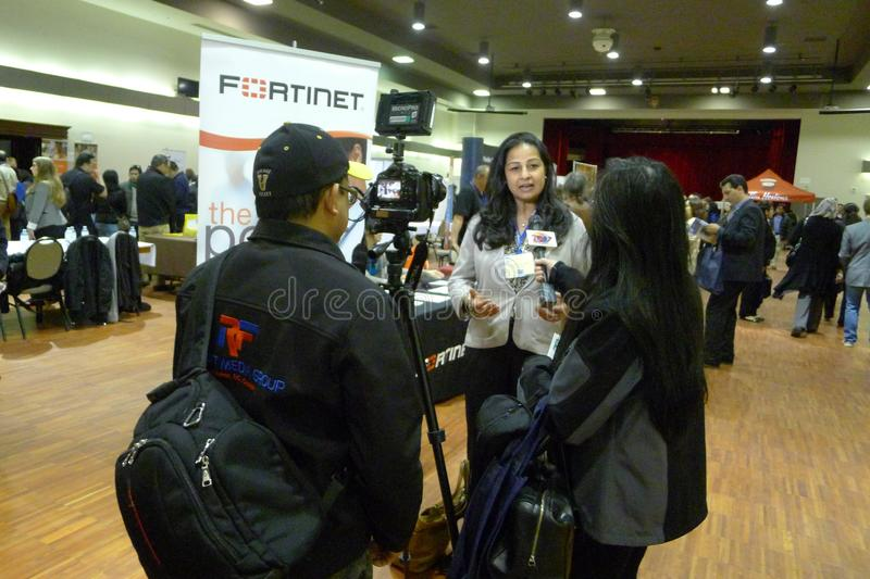 Interview at the Job Fair in Vancouver royalty free stock photo