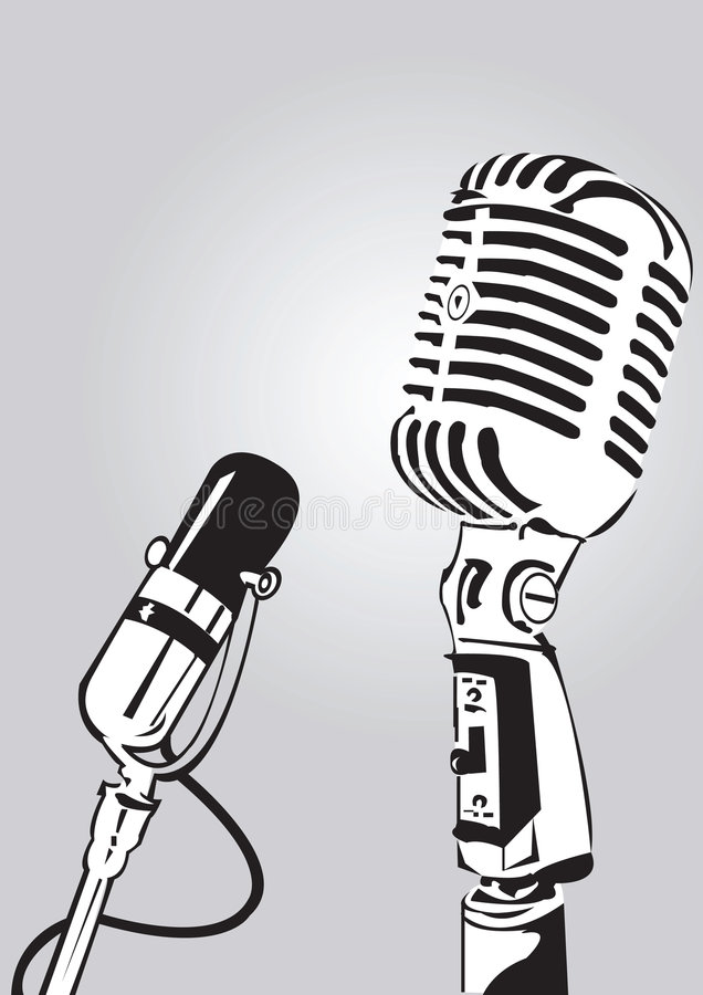 Interview with microphone stock image