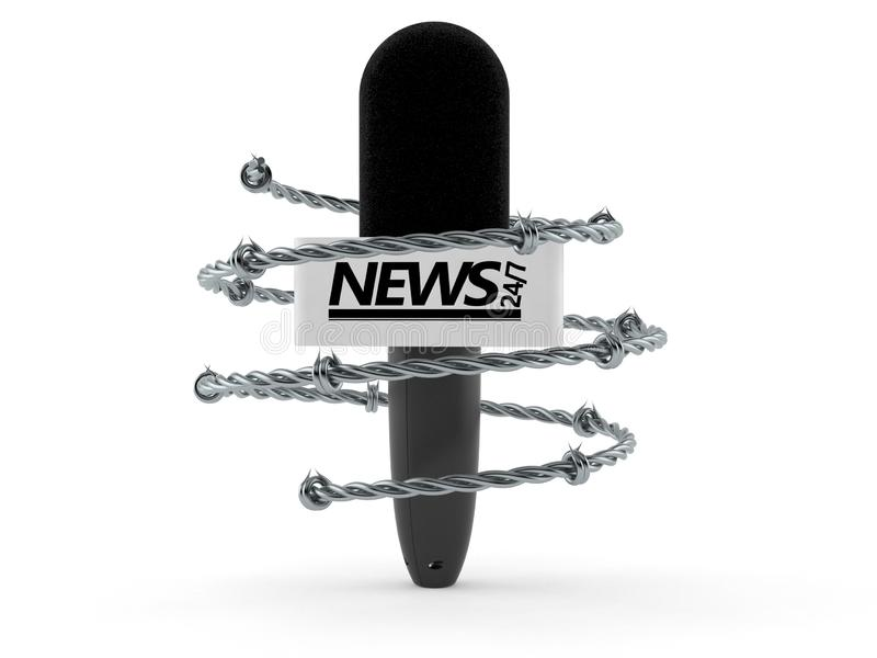Interview microphone with barbed wire. Isolated on white background. 3d illustration royalty free illustration