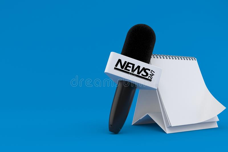 Interview microphone with blank calendar. Isolated on blue background. 3d illustration royalty free illustration