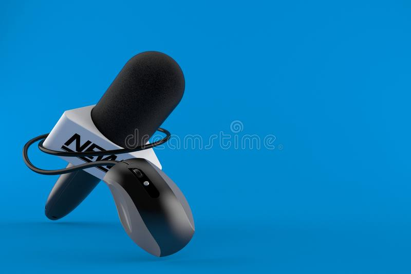 Interview microphone with computer mouse. Isolated on blue background. 3d illustration stock illustration