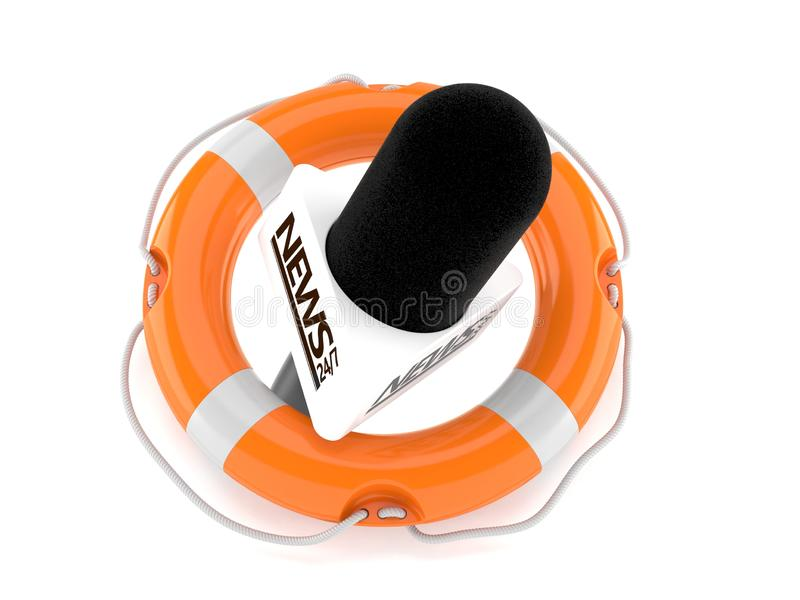 Interview microphone inside life buoy. Isolated on white background. 3d illustration vector illustration