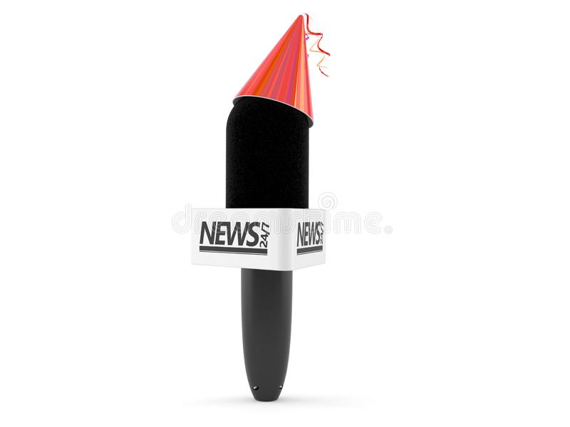 Interview microphone with party hat. Isolated on white background. 3d illustration stock illustration
