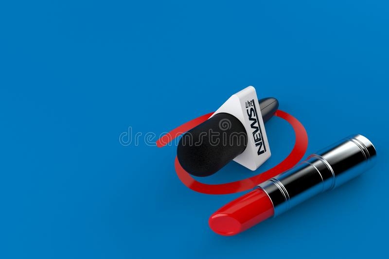 Interview microphone selected with lipstick. Isolated on blue background. 3d illustration royalty free illustration