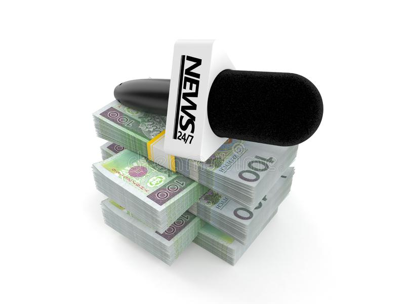 Interview microphone on stack of money vector illustration