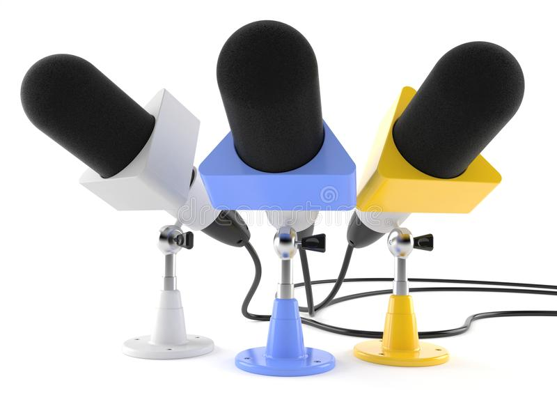 Interview microphones. Isolated on white background vector illustration