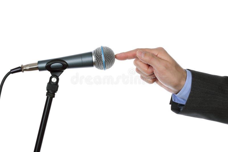 Interview mit Mikrofon stockfoto