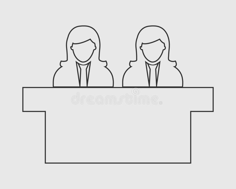 Interview Panel line Icon with desk. On gray background vector illustration