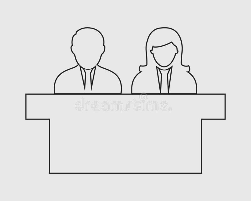 Interview Panel line Icon. With desk on gray background vector illustration