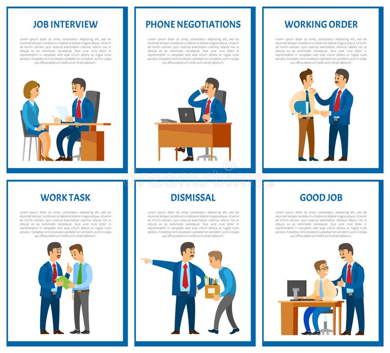 Interview and Phone Negotiations Business Call. Interview and phone negotiations, business call of director of company vector. Working task and order of leader royalty free illustration