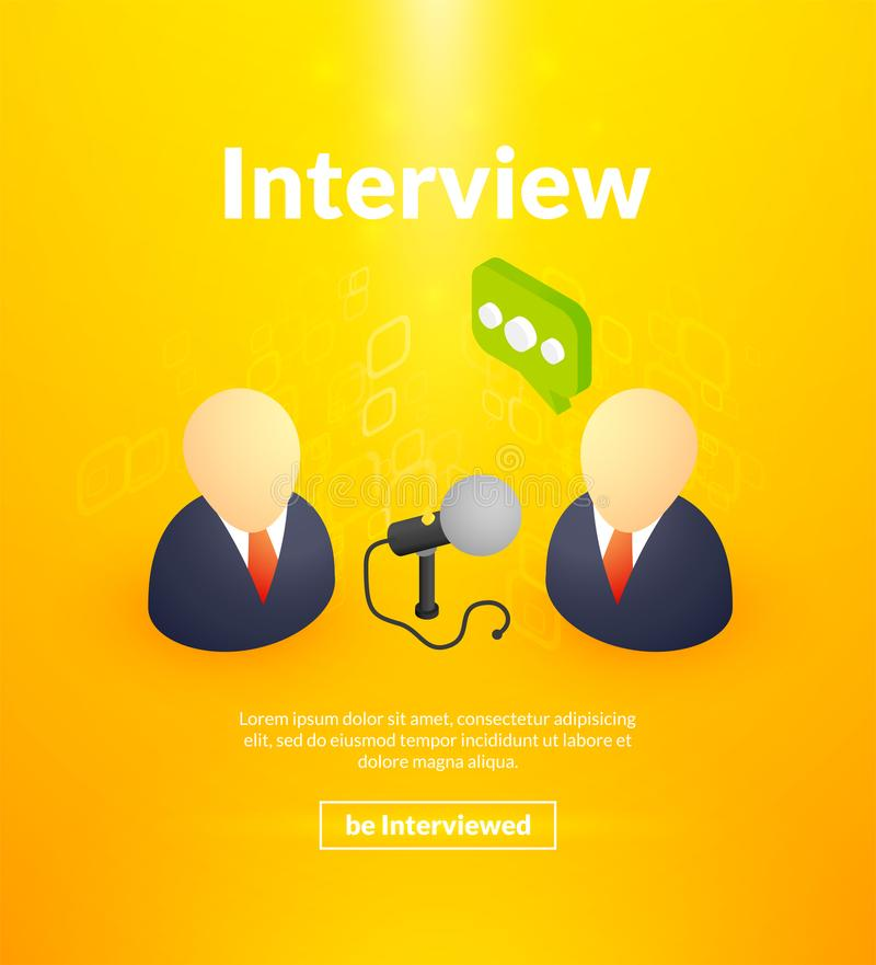 Interview poster of isometric color design royalty free illustration