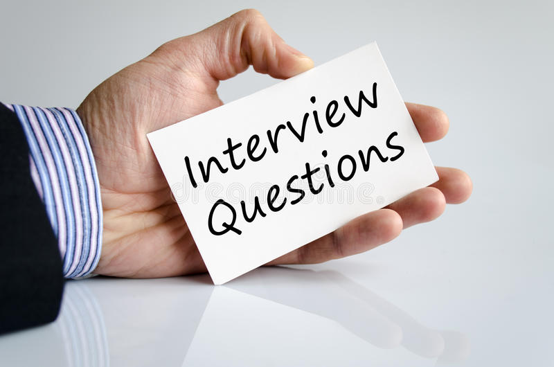 Interview questions text concept stock images