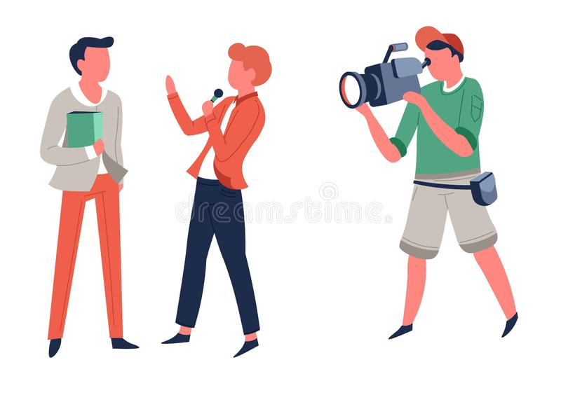 Interview reporter and operator television program or news filming royalty free illustration