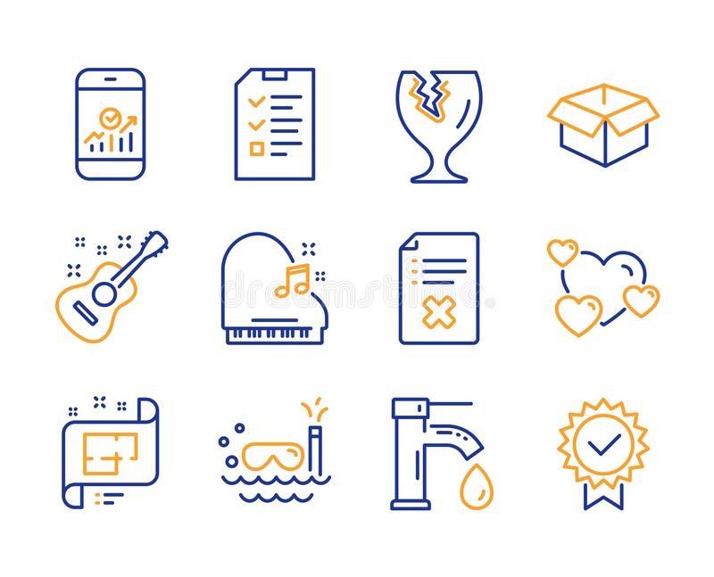 Interview, Scuba diving and Fragile package icons set. Smartphone statistics, Heart and Guitar signs. Vector. Interview, Scuba diving and Fragile package icons vector illustration
