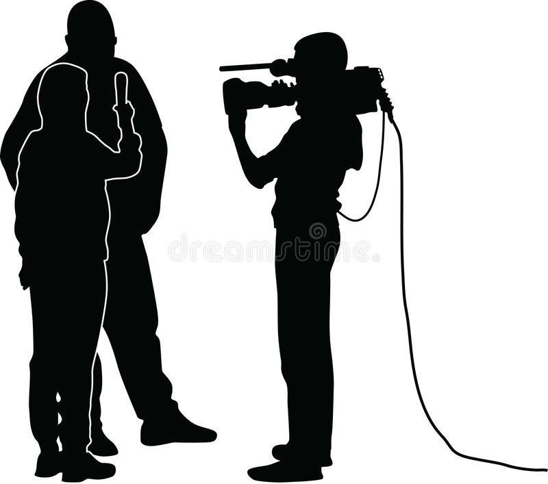Interview. With star, journalist and cameraman vector illustration
