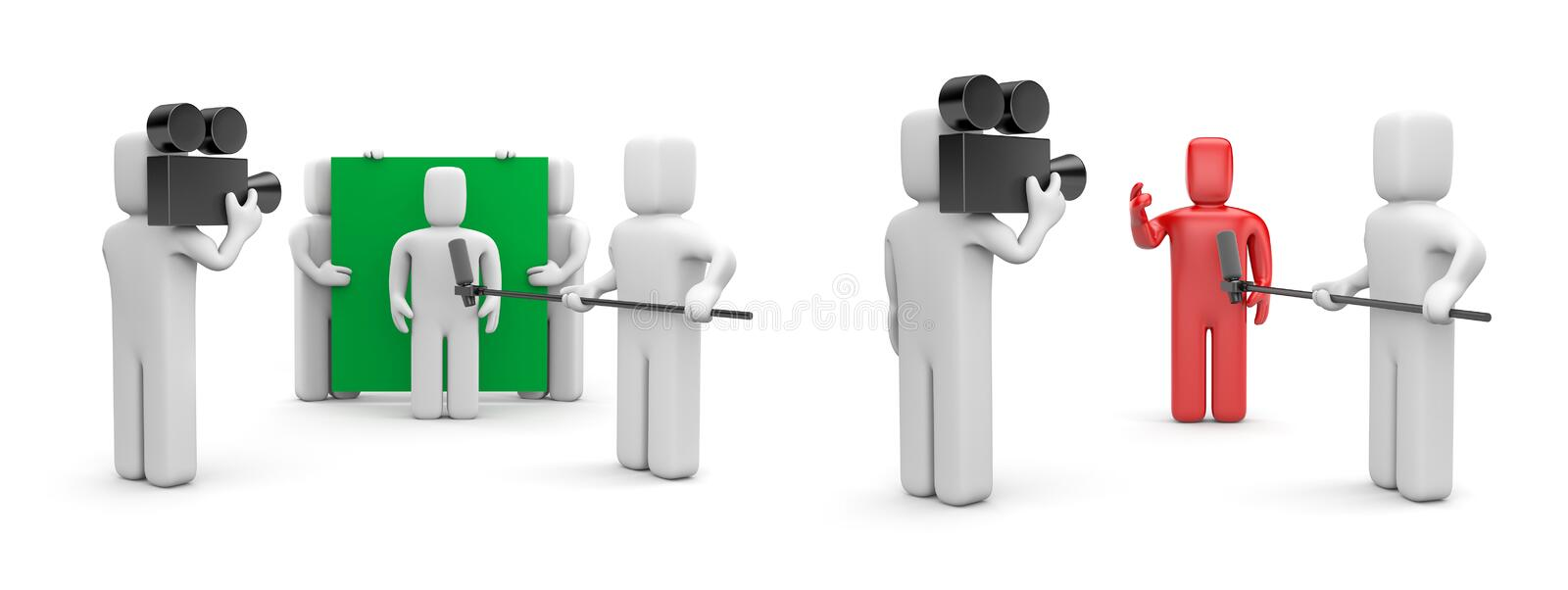 Interview in studio - two variations vector illustration