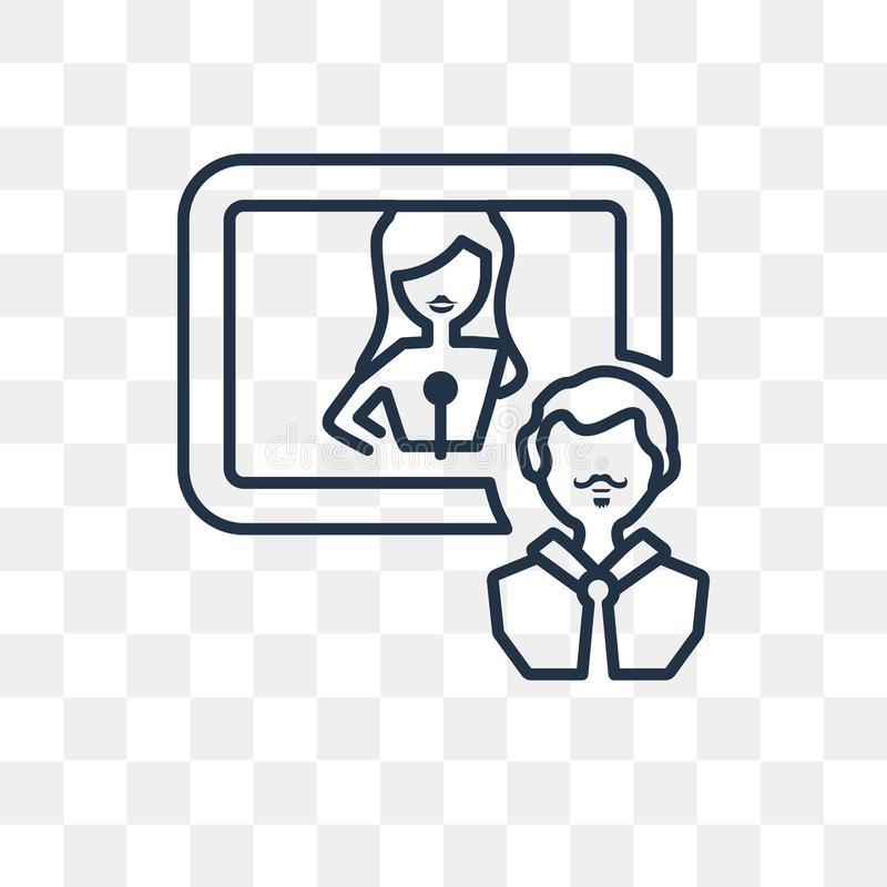 Interview vector icon isolated on transparent background, linear. Interview vector outline icon isolated on transparent background, high quality linear Interview stock illustration