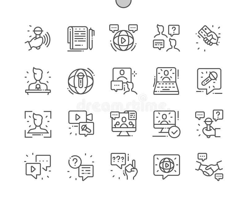 Interviewen Sie Gut-in Handarbeit gemachtes Pixel, das perfekter Vektor dünn Gitter 2x der Ikonen-30 für Netz Grafiken und Apps z stock abbildung