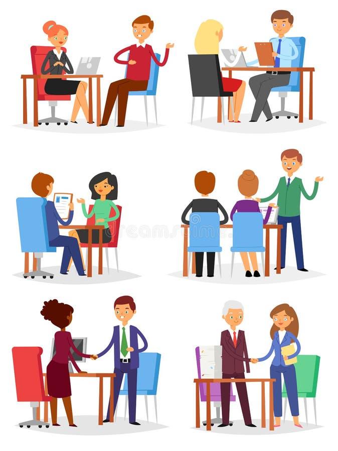 Interviewen Sie Vektorbefragte personen auf Geschäftstreffen und Interviewter oder Interviewer im Büroillustrationssatz des Manne lizenzfreie abbildung