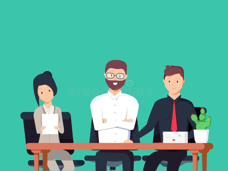 Interviewers at work looking serious. Set of different people. Illustration about job for your design. stock illustration