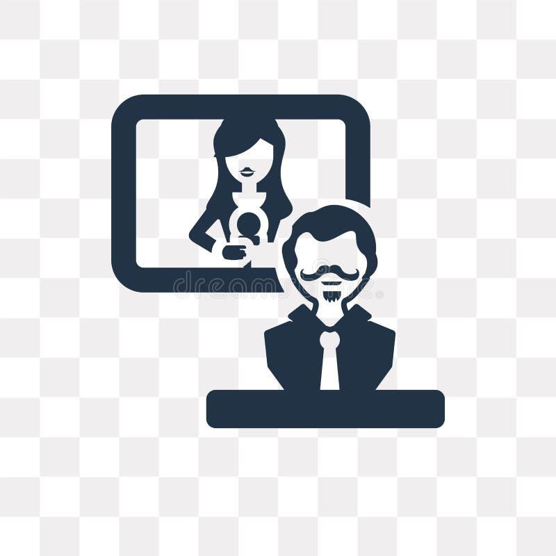 Interviewez l'icône de vecteur d'isolement sur le fond transparent, Interv illustration stock