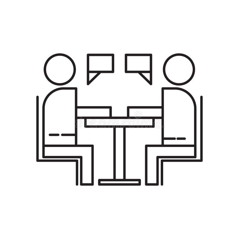 Interviewez le signe et le symbole de vecteur d'icône d'isolement sur le fond blanc, concept de logo d'entrevue illustration libre de droits