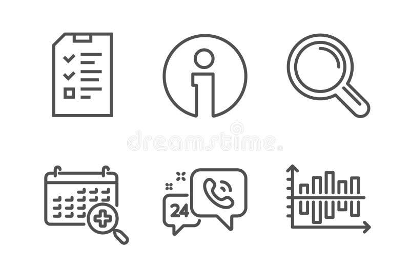 Intervista, calendario medico ed insieme delle icone di informazioni Ricerca, servizio 24h e segni del grafico del diagramma Vett illustrazione vettoriale