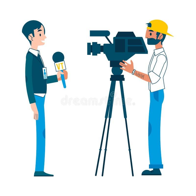 Intervista della macchina fotografica della regolazione del reporter dell'uomo di vettore video royalty illustrazione gratis