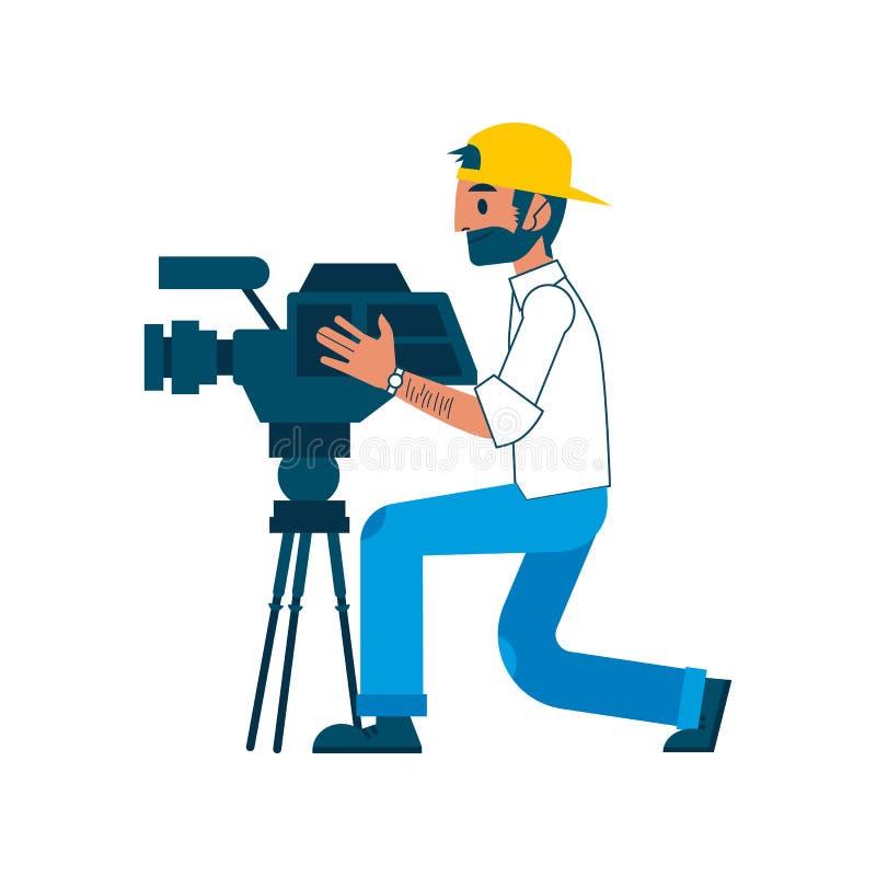 Intervista della macchina fotografica della regolazione del reporter dell'uomo di vettore video illustrazione vettoriale