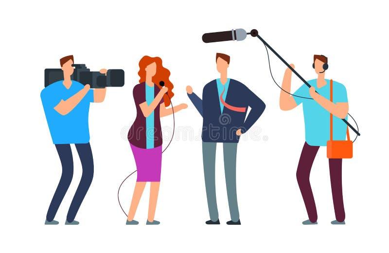 Intervista della presa dei giornalisti Reportage di radiodiffusione con il fotografo e il videographer Concetto di vettore di rad royalty illustrazione gratis