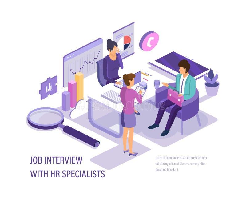Intervista di lavoro con gli specialisti di ora Studio sul questionario e sul riassunto royalty illustrazione gratis