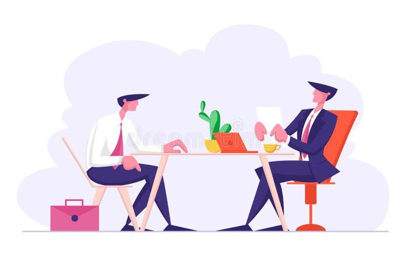 Intervista di lavoro con il responsabile Asking Questions del comitato di selezione al richiedente circa competenza di abilità di illustrazione vettoriale