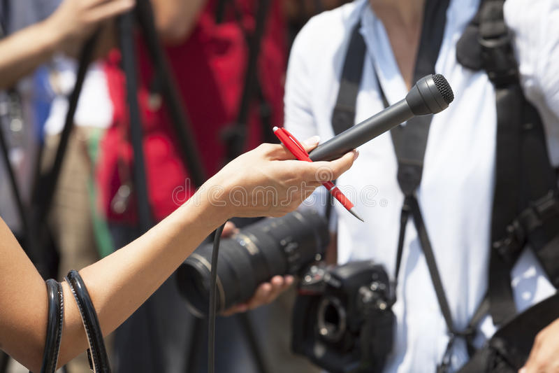 Intervista di media fotografie stock