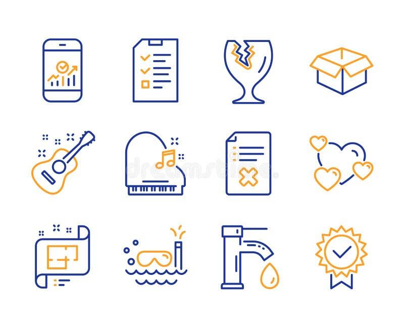 Intervista, immersione con bombole ed insieme fragile delle icone del pacchetto Statistiche di Smartphone, segni della chitarra e illustrazione vettoriale