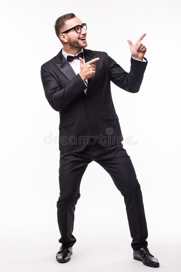 Intervistatore dello showman indicato dal lato immagini stock