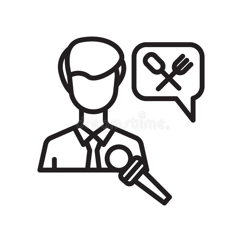 Intervisti il segno ed il simbolo di vettore dell'icona isolati su fondo bianco, concetto di logo di intervista illustrazione vettoriale