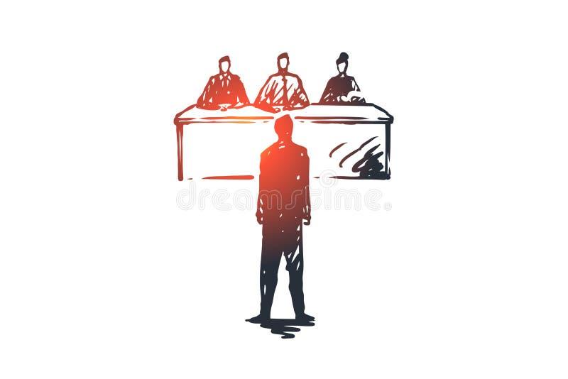 Intervju jobb, arbete, möte, kontorsbegrepp Hand dragen isolerad vektor royaltyfri illustrationer