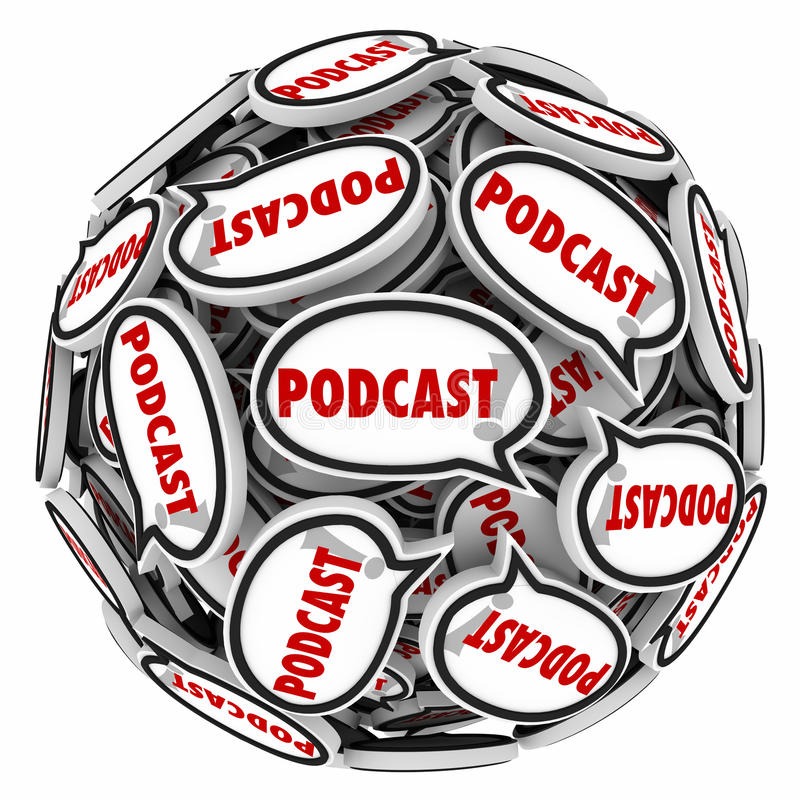 Intervju Mp3 för program för sfär för Podcastanförandebubblor ljudsignal vektor illustrationer