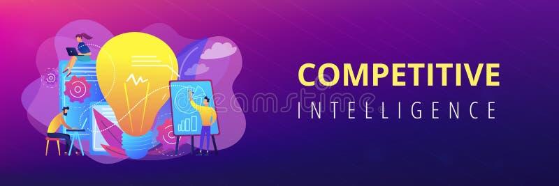 Intestazione competitiva dell'insegna di concetto di intelligenza illustrazione vettoriale